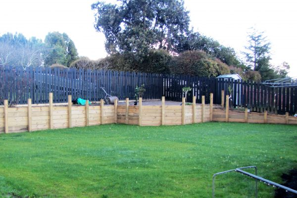 Lawn and retaining after